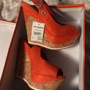 Shoes - Orange Wedge Heels